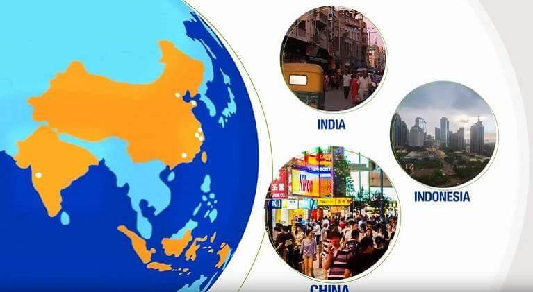 Map and photos of the Asia Pacific Region highlighting H.B. Fuller's global reach and local expertise.